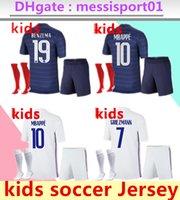 2021 2022 # 19 Benzema Erkek Futbol Forması Maillot De Ayak Francia Enfant Çocuk Kiti 2 Yıldız Mbappe Pogba Futbol 21/22 Gömlek Formaları