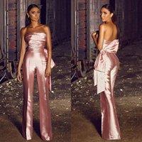 Pantaloni da donna senza spalline rosa moda rosa Suitsatin Ruffles Big Bow Abiti da sera Abiti da sera realizzati su misura Abito da ballo semplice con abito da pantaloni