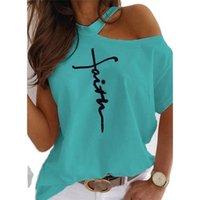 Mädchen vor Schulter Tshirt Kurzarm 5XL T-shirts Halter Brief Drucken Sommer Casual 100% Baumwolle Damen T-Shirts Tops Frauen