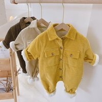Jumpsuits MILANCEL 2021 Autumn Boys Clothes Turn Down Collar Infant Girls Rompers Corduroy Baby Snow Suit Fur Lining Outerwear