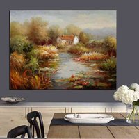 Abstract Modern Mediterranean Garden Landscape Oil Canvas Surface Living Room Sofa Poster Art Wall Painting