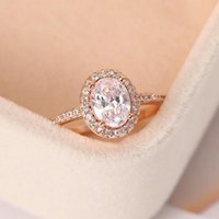 Wedding Rings Engagement Ring For Women Oval Crystal Moissanite Promise Rose Gold Marriage Bride Gift Jewelry Accessories OHR078
