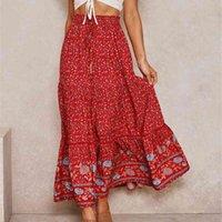 Dailou Vintage Chic Jupes Longues Femmes Floral Imprimer Plage Bohemian Jupe Summer Été Élastique Taille Rayon Coton Boho Maxi 210726