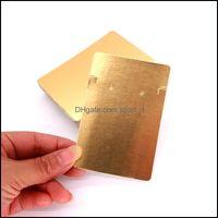 Etiquetas de precios, Joyas de embalaje100pcs / lote Color de oro puro 6x9cm Pendientes Ear Stud Tarjeta de embalaje Joyería Pantalla Cuelga Etiqueta Etiqueta Impresión DROP