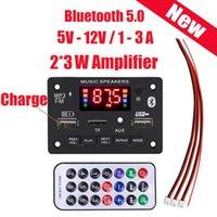 & MP4 Players Bluetooth 5.0 Decoder Board Module DC 5V-12V 2*3W Car FM Radio Support TF Card Slot  MP3 USB AUX  Recording   Remote