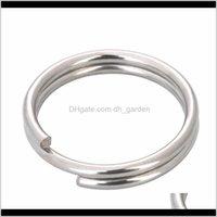 Salto 50 pçslote diâmetro 132025mm anel chave de aço inoxidável anéis de split sier keychain diy jóias conectores de material f2229 r8woz r9pdo