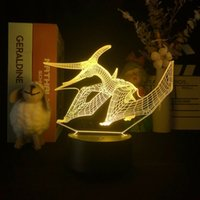 Sensor Night Light LED Pterosaur Novelty Illusion 3D Illusion Atmopshere Desk Lamp Room Kids Room Dinosaur Nightlight Fiesta de cumpleaños Decoración Regalo