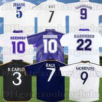 레트로 레알 마드리드 Raul 축구 유니폼 94 95 97 98 99 04 05 07 08 09 10 Zidane Beckham Ronaldo 고대 축구 셔츠