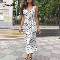 Simplee Polka Dot Kadınlar Elbise Kolsuz Düğmeler Kemer Bodycon Plaj Midi Elbise Streetwear Rahat Plaj Kıyafeti Tatil Yaz Elbise 210323