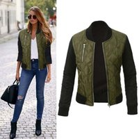 Women's Jackets Female Casual Color Spliced Short Jacket Coat Long Sleeve Outwear Women Stand Collar Zipper Slim Basic High Quality YF57