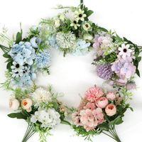 1pcs blandad blomma vacker peony artificiell hortensia silke falsk bukett för hem bröllop dekoration diy maskros dekorativa blommor wrea