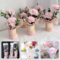 1pc Round Mini Flower Box Paper Lid Hug Bucket Gift Handheld Packaging Wedding Party Decor Candy Bag Florist Supplies Wrap