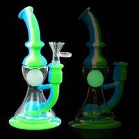 8.4 '' Hukahn-Bongs-Tabak-Wasserleitungen Silikon-Becherbecher-DAB-Rigs-Gelenk-kleine Kugel im mittleren Glühen