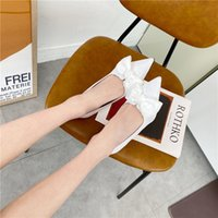 2021 Wedding Bridal Shoes Chic Bowknot White Lace France Ladies Shoe Low Heel Point Toe Casual Spring Evening Sandals AL9168