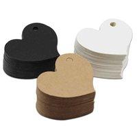 4.5 * 4 cm Kraftpapier Tags Hartvorm Label Bagage Bruiloft Evenement Opmerking Groetkaart DIY Prijs Craft Gift Message Hang Tag