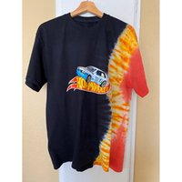 Travis Scott Jack Jungen Tops Hotwheels Racing Flame Krawatte Kurzarm Design Casual Lose Tie Dye T-Shirt für Männer und Frauen High Street Hip-Hop
