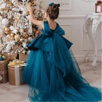 Elegant Teal First Communion Dresses Lace Applique Tulle Lovely Ball Gown Princess Little Girls Pageant Flower Girl for Weddings and Party Dresses 1 custom made 2021