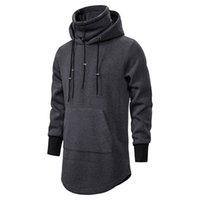Masculinos casuais casuais black hoodies moda alto colarinho fleece gótico pulôver hip hop longo comprimento zíper poncho capa capa capuz homens casaco de moletom xh12