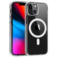 Transparente Klare Acryl Magnetische Stoßdämpfe Telefonhüllen für iPhone 13 12 MINI 11 PRO MAX XR XS X 8 7 Plus mit dem Einzelhandelspaket Kompatibel Magssafe-Ladegerät