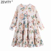 Zevity Nuove Donne Elegante Stampa da fiori Elegante Pleatte Ruffles Mini Dress Femmina Chic Tre quarti Manica Casual Kimono Vestido 210323