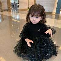 Girl's Dresses 0-3 Years Old Spring Autumn Girls' Children's Long-sleeved Foreign Style Princess Dress Black Pink Little Fairy
