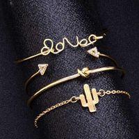 Link, Chain 4pcs set Exquisite Simple Knot Love Gold Opening Bracelet Set Vintage Beautiful Leaf Arrow Bangle Cuff Bracelets Causal Jewlery