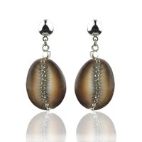 Natural Cowrie Shell Earrings For Women Bohemian Rhinestone Beach Jewelry Oorbellen Boucle D'oreille Femme 2021 Aretes Mujer Dangle & Chande