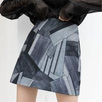 스커트 스커트 불규칙하게 인쇄 된 미니 한국어 스타일 여성 하이 허리 여성 패션 라인 스커트 대형