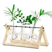 Idroponica Vintage Trasparente Telaio in legno creativo Caffetteria Stanza in vetro Pianta da tavolo Pianta da tavolo Bonsai Home Decor Flower Vase 694 K2