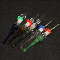 hookahs 14mm Joint Mini Nectar Collector Kit Micro NC Kits Glass Smoking Dab Straw Nector Collectors With stainless steel Quartz Tips