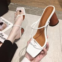 Sandals Women Sexy Slippers Female Pumps Summer 2021 Ladies Fashion Clip Toe High Heels Dress Shoes Woman Square PU