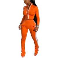 Xingqing Eşofman Setleri Uzun Kollu Yaka Fermuar Mahsul Üst + Pantolon Fitness Elastik Giyim Bayanlar Eşofman Bayan Giyim Kadın