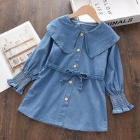 Girl's Dresses Bear Leader Baby Girls Blue Dress 2021 Fashion Autumn Solid Color Long Sleeve Clothes Ruffle Childrens Kids