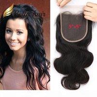 """5 * 5 6 * 6-дюймовая кружева натуральный цвет бразильский малазийский человеческий волос верхний закрытие свободная часть 5 """"* 5"""" кузовная волна Bella волос"""
