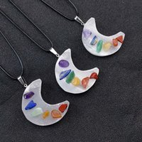 Healing Gypsum Crescent Moon Stone Pendant Seven Chakra Necklace Reiki Crystal Agate for Necklaces Women Jewelry