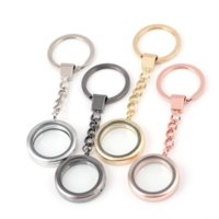 Открытые плавающие медальцы Ключные кольца Круглые шкафы подвески брелок Живая память DIY мода ювелирные изделия будут и песчаные серебряные золоты