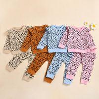 Clothing Sets Long Sleeve Leopard Children's Infant Baby Boys Girls Print Top+leopard Pants Kids Winter