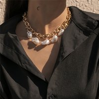 Geometric Metal Thick Cross Chain Baroque Imitation Pearl Mix Necklaces European Double Layer Punk Party Gold Necklace Ornaments Accessories