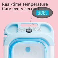 Портативная ванна датчик температуры Детская ванна складной ванна баррель детская ванна плавающая баррель дома большой новорожденный может сидеть
