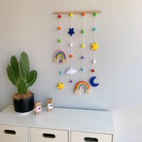 Decorative Objects & Figurines Nordic Woven Rainbow Girl Hairpin Storage Hanging Wall Po Finishing Decor Bedroom Living Room Dorm Decoration