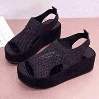 Artan Yükseklik Ayakkabı Sandalet Sapanlar Slip-On Loafer'lar Yaz Kadın Temizle Topuklu Düz Platformu Kadın Ayakkabı Takunya Kama 210619 Çorba