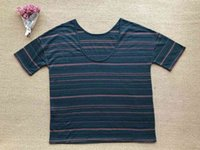 Topy 2021 Spring and Lato Blackish Green Striped Round Neck T-shirt Loqx