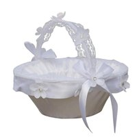 Schärpen Europäische und amerikanische weiße Hochzeit Strass-Spitze Kleine Blumenkorb Braut Mädchen (Hochzeitszubehör)