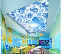 Wallpapers Custom Ceiling Wallpaper For Walls 3 D Mural Beautiful Romantic Sky Blue Cloud Painting Background Wall