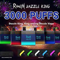 100% Original RandM DAZZLE KING cigarettes Disposable Vape Device 8ML 3000 Puffs Colorful led light USB Charge port