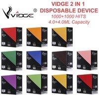Fabrika Outlet Vidge 2 1 E Sigara 1000 + 1000Puffs Tek Kullanımlık Vape Kalem 950mAh Batarya 4.0ml + 4.0ml üzerinde 11 Renk