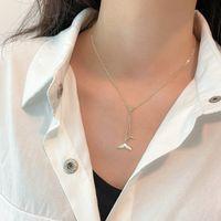 Кулон ожерелья натуральная белая мать оболочка серебряная рыба хвост цепочка ключицы жемчужина для женщин