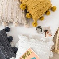 Cubierta de almohada de borlas florales blancas con pompón amarillo gris cojín decorativo cubierta casero decoración del hogar funda de almohada 45x45cm gwd5705