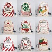 EUA Natal Saco de Presente Saco Draorstring Santa Claus Algodão Armazenamento Doces Saco Grandes Crianças Brinquedo Festa Decoração