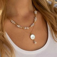 Designer Necklace Luxury Jewelry Multi Layer Coin Pearl for Women 2021 Fashion Natural Freshwater Pendant Boho Friend Gift